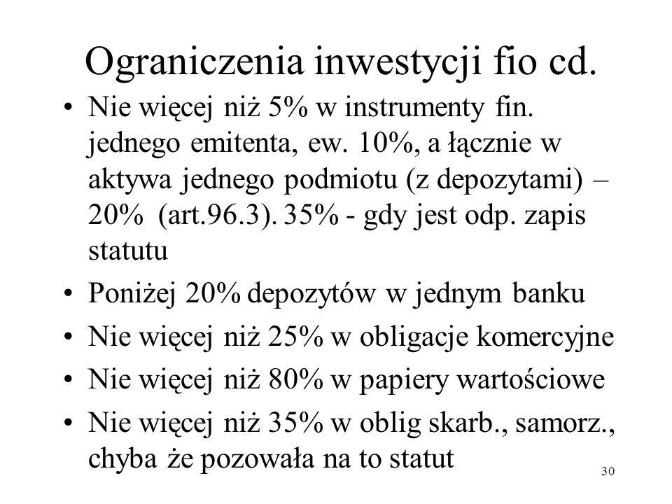 Ograniczenia inwestycji fio cd.