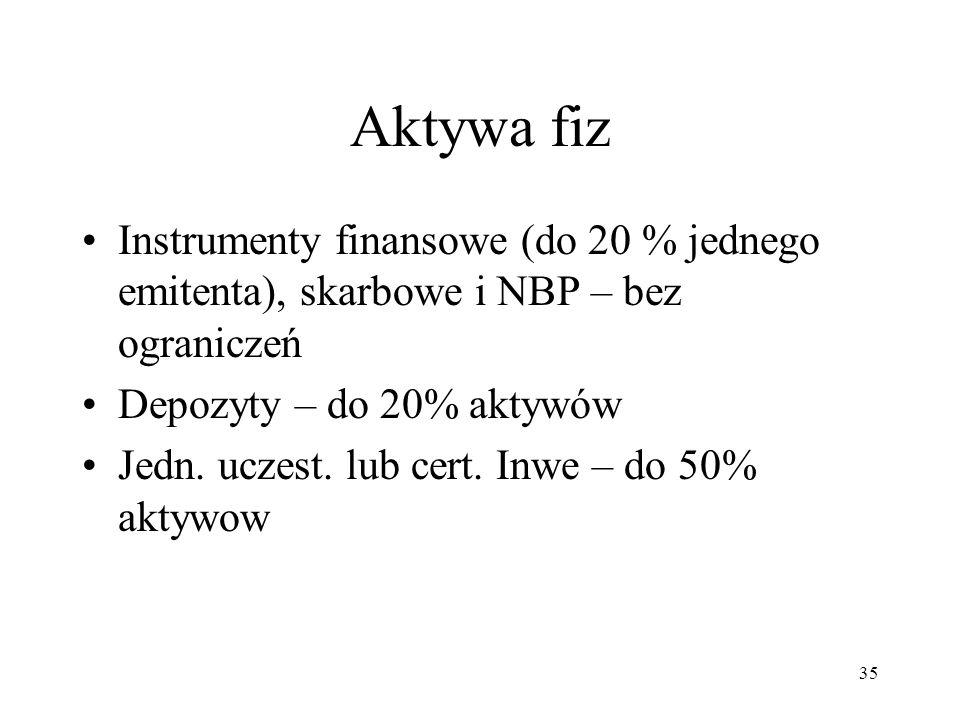 Aktywa fiz Instrumenty finansowe (do 20 % jednego emitenta), skarbowe i NBP – bez ograniczeń. Depozyty – do 20% aktywów.
