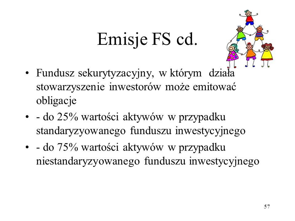 Emisje FS cd. Fundusz sekurytyzacyjny, w którym działa stowarzyszenie inwestorów może emitować obligacje.