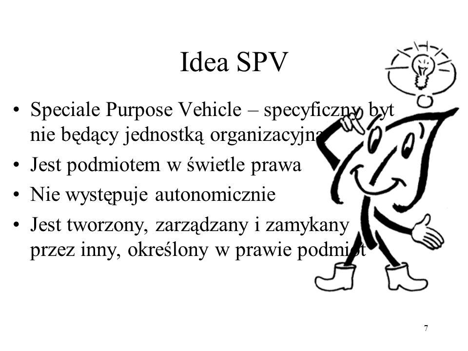 Idea SPV Speciale Purpose Vehicle – specyficzny byt nie będący jednostką organizacyjną. Jest podmiotem w świetle prawa.