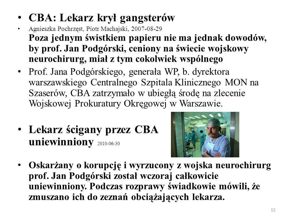CBA: Lekarz krył gangsterów