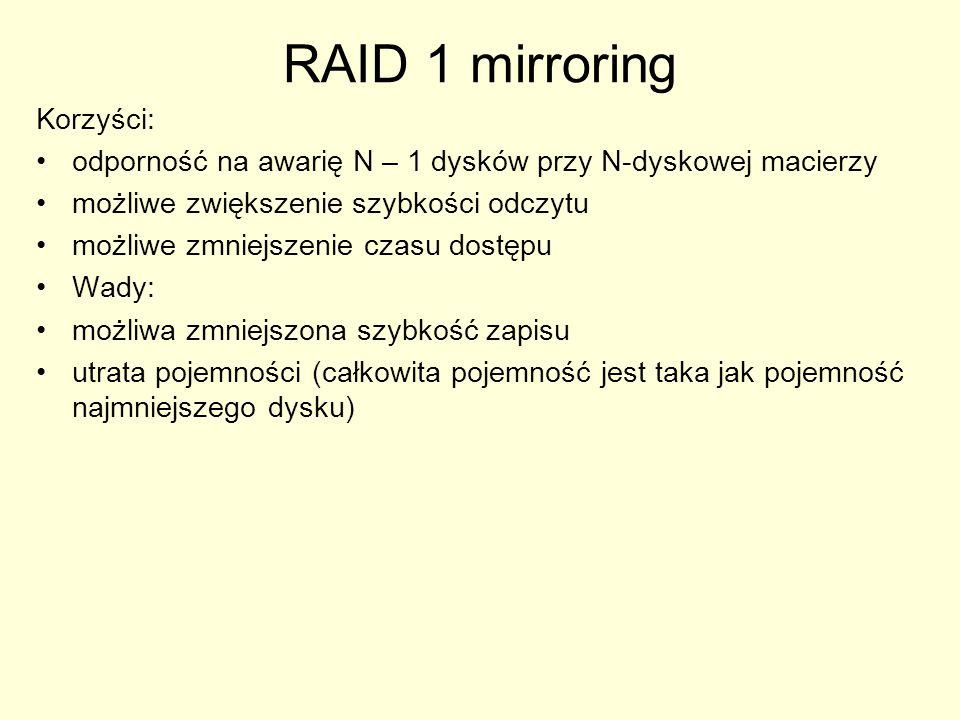 RAID 1 mirroring Korzyści: