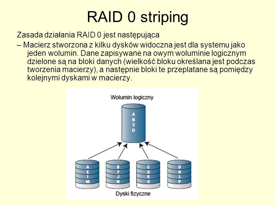RAID 0 striping Zasada działania RAID 0 jest następująca