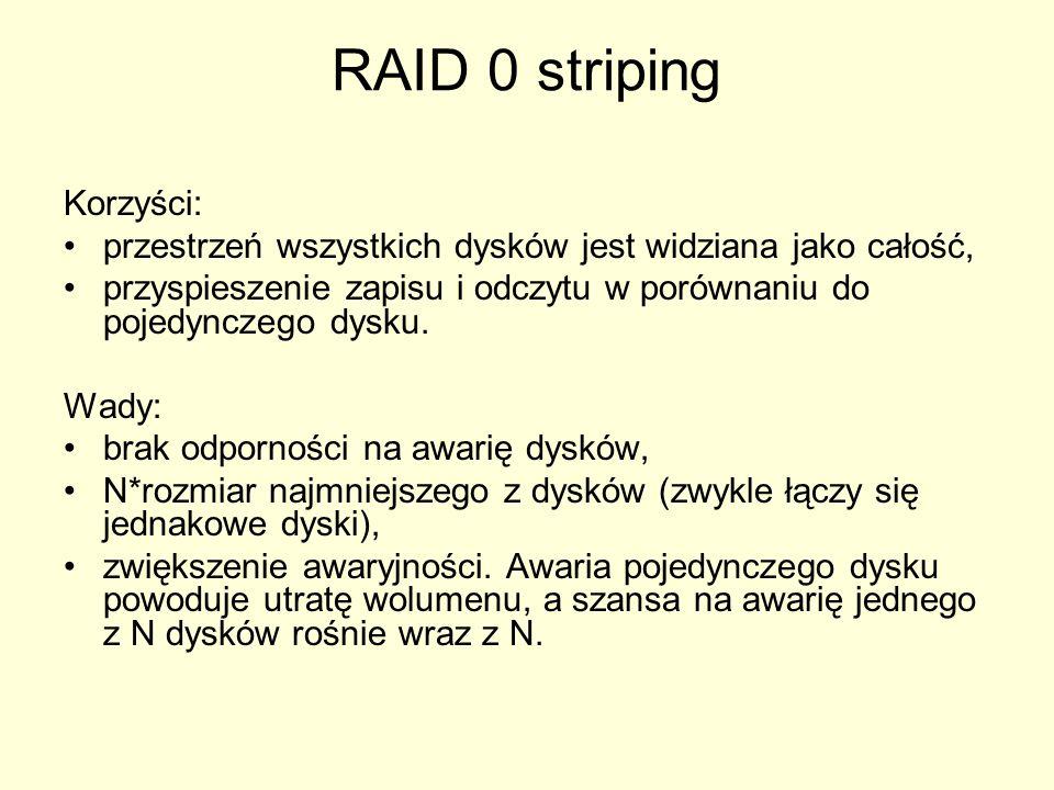 RAID 0 striping Korzyści: