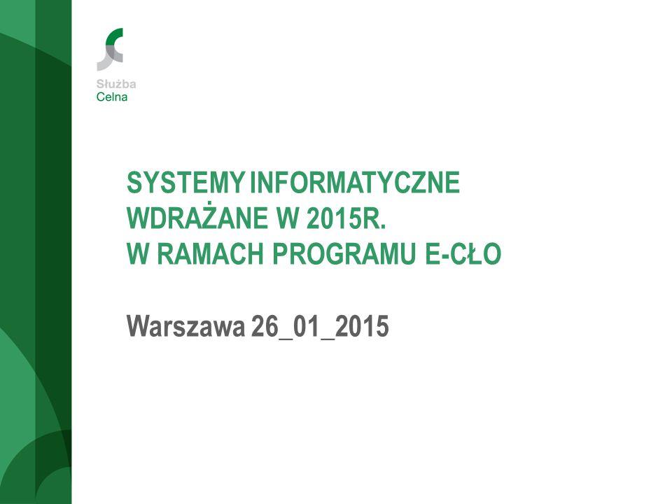 SYSTEMY INFORMATYCZNE WDRAŻANE W 2015R. W RAMACH PROGRAMU E-CŁO