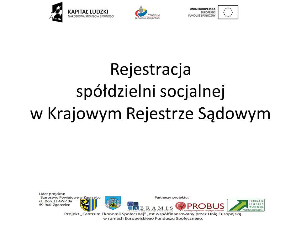 Rejestracja spółdzielni socjalnej w Krajowym Rejestrze Sądowym