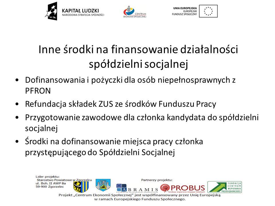 Inne środki na finansowanie działalności spółdzielni socjalnej