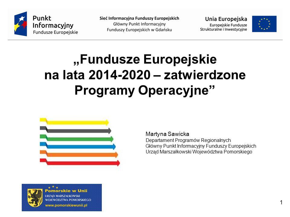 """""""Fundusze Europejskie na lata 2014-2020 – zatwierdzone Programy Operacyjne"""