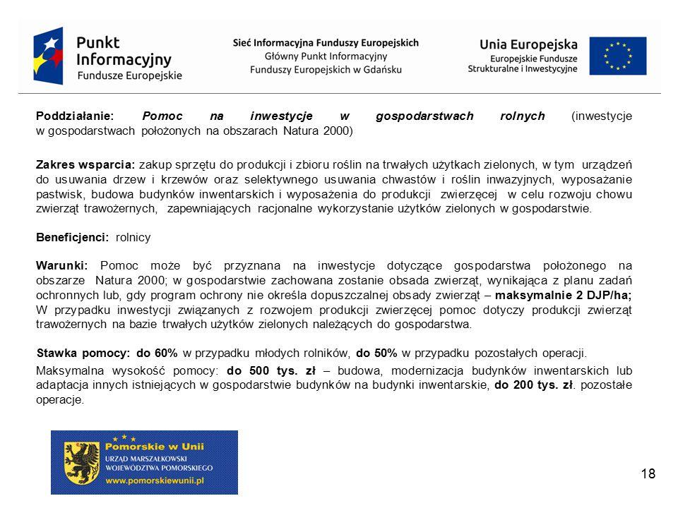 Poddziałanie: Pomoc na inwestycje w gospodarstwach rolnych (inwestycje w gospodarstwach położonych na obszarach Natura 2000)