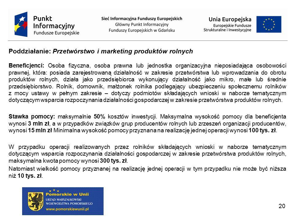 Poddziałanie: Przetwórstwo i marketing produktów rolnych