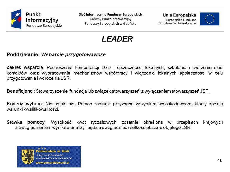 LEADER Poddziałanie: Wsparcie przygotowawcze