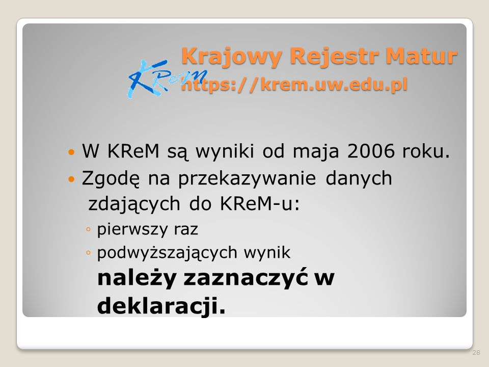 Krajowy Rejestr Matur https://krem.uw.edu.pl