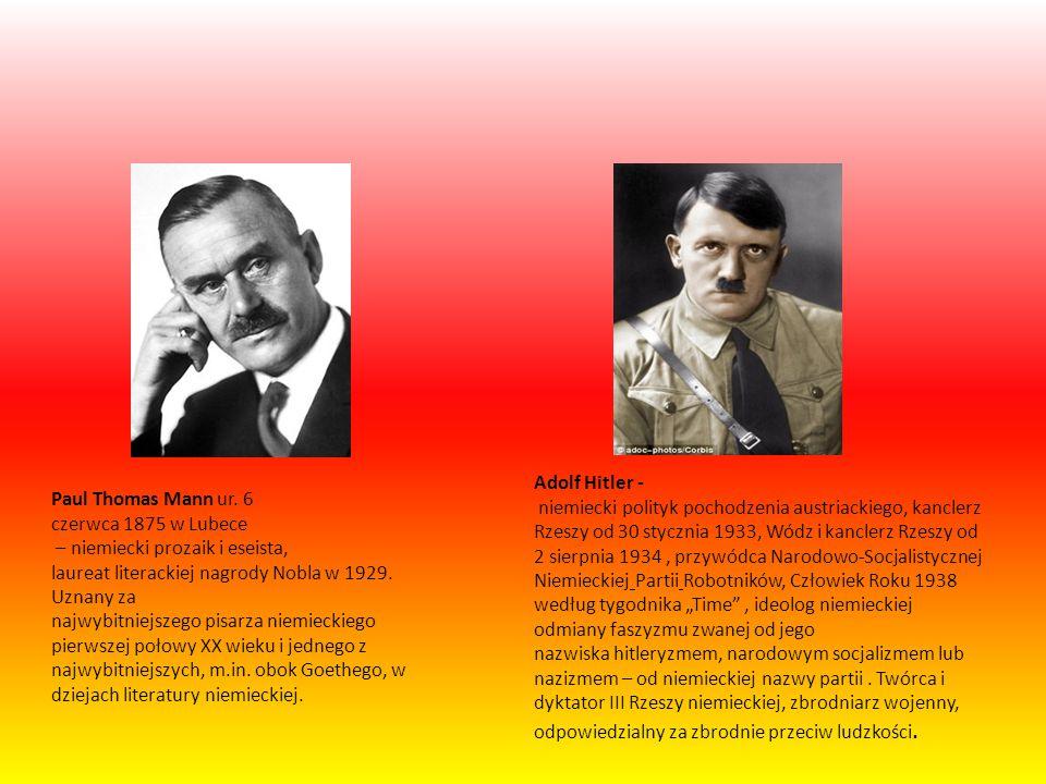 """Adolf Hitler - niemiecki polityk pochodzenia austriackiego, kanclerz Rzeszy od 30 stycznia 1933, Wódz i kanclerz Rzeszy od 2 sierpnia 1934 , przywódca Narodowo-Socjalistycznej Niemieckiej Partii Robotników, Człowiek Roku 1938 według tygodnika """"Time , ideolog niemieckiej odmiany faszyzmu zwanej od jego nazwiska hitleryzmem, narodowym socjalizmem lub nazizmem – od niemieckiej nazwy partii . Twórca i dyktator III Rzeszy niemieckiej, zbrodniarz wojenny, odpowiedzialny za zbrodnie przeciw ludzkości."""