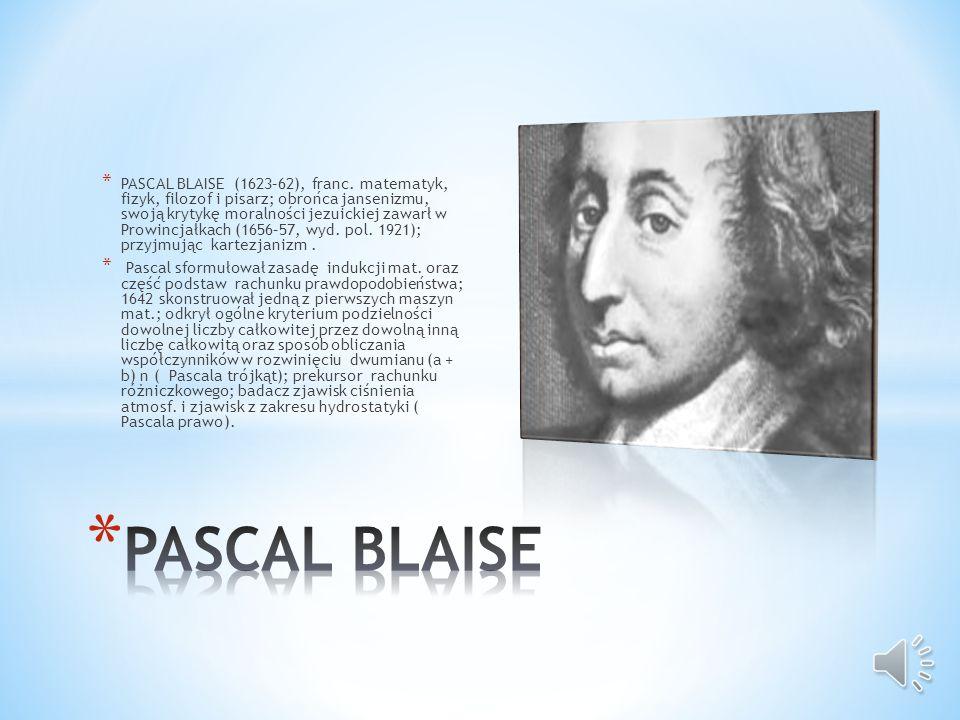 PASCAL BLAISE (1623–62), franc