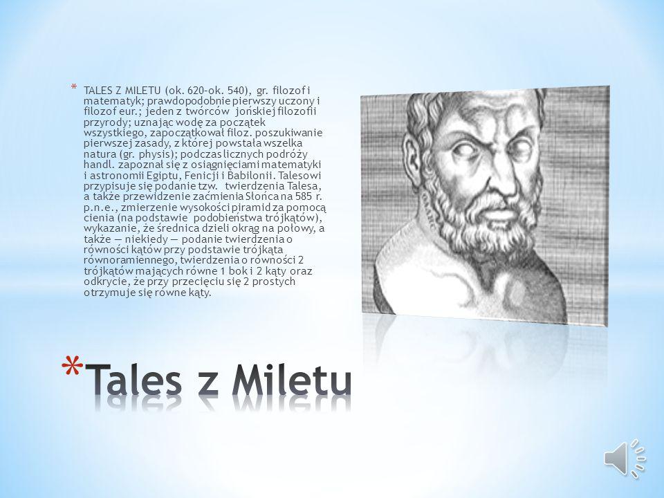 TALES Z MILETU (ok. 620–ok. 540), gr