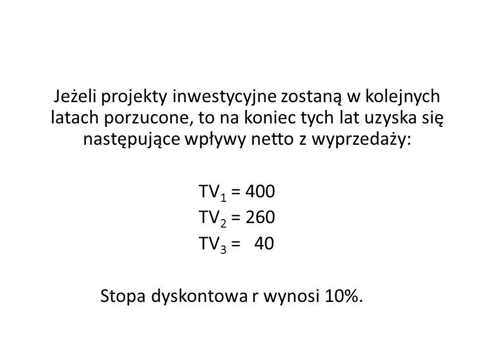 Jeżeli projekty inwestycyjne zostaną w kolejnych latach porzucone, to na koniec tych lat uzyska się następujące wpływy netto z wyprzedaży: TV1 = 400 TV2 = 260 TV3 = 40 Stopa dyskontowa r wynosi 10%.