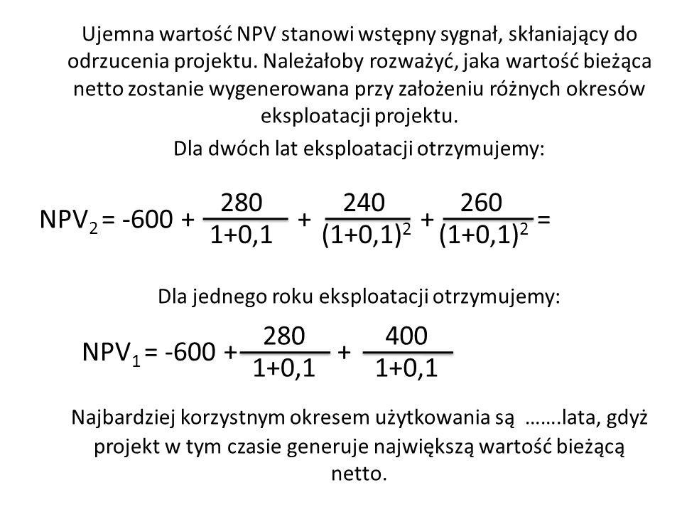 Ujemna wartość NPV stanowi wstępny sygnał, skłaniający do odrzucenia projektu. Należałoby rozważyć, jaka wartość bieżąca netto zostanie wygenerowana przy założeniu różnych okresów eksploatacji projektu.