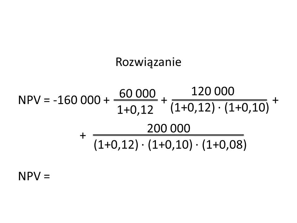 Rozwiązanie NPV = -160 000 + + + NPV =