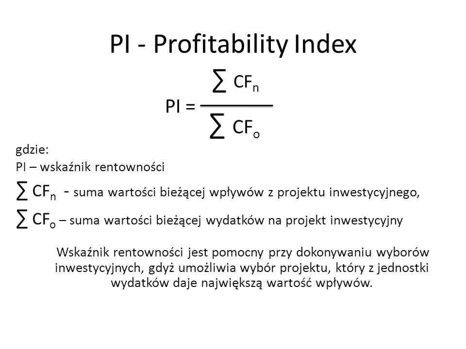 PI - Profitability Index