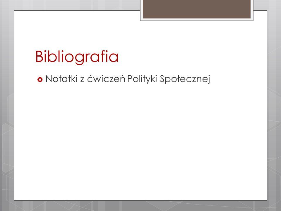 Bibliografia Notatki z ćwiczeń Polityki Społecznej