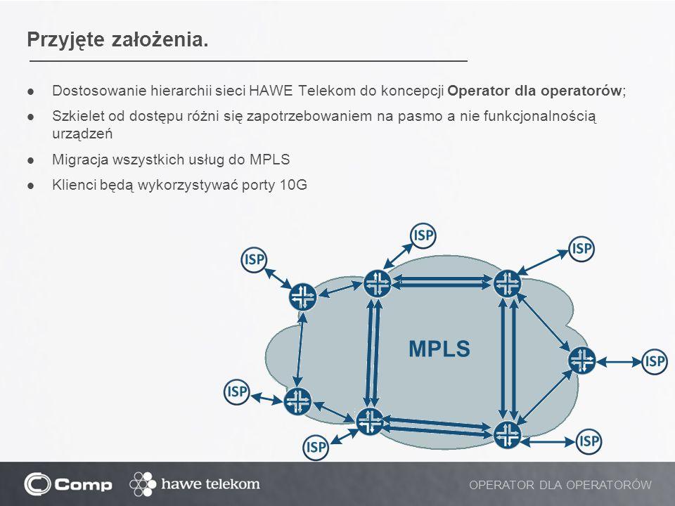 Przyjęte założenia. Dostosowanie hierarchii sieci HAWE Telekom do koncepcji Operator dla operatorów;