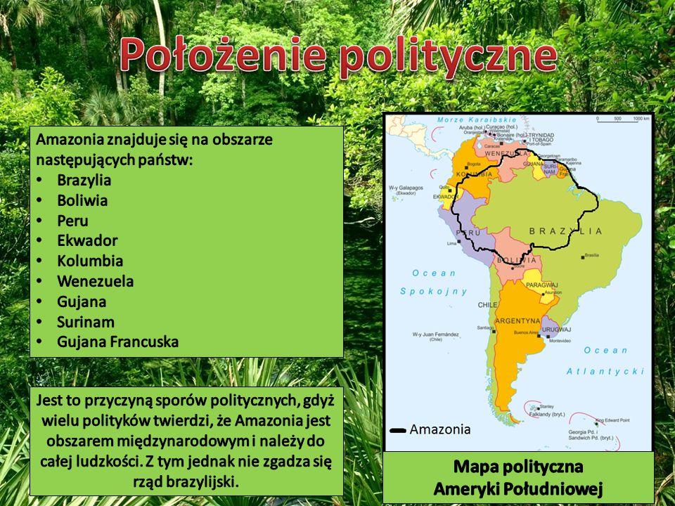 Położenie polityczne Mapa polityczna Ameryki Południowej