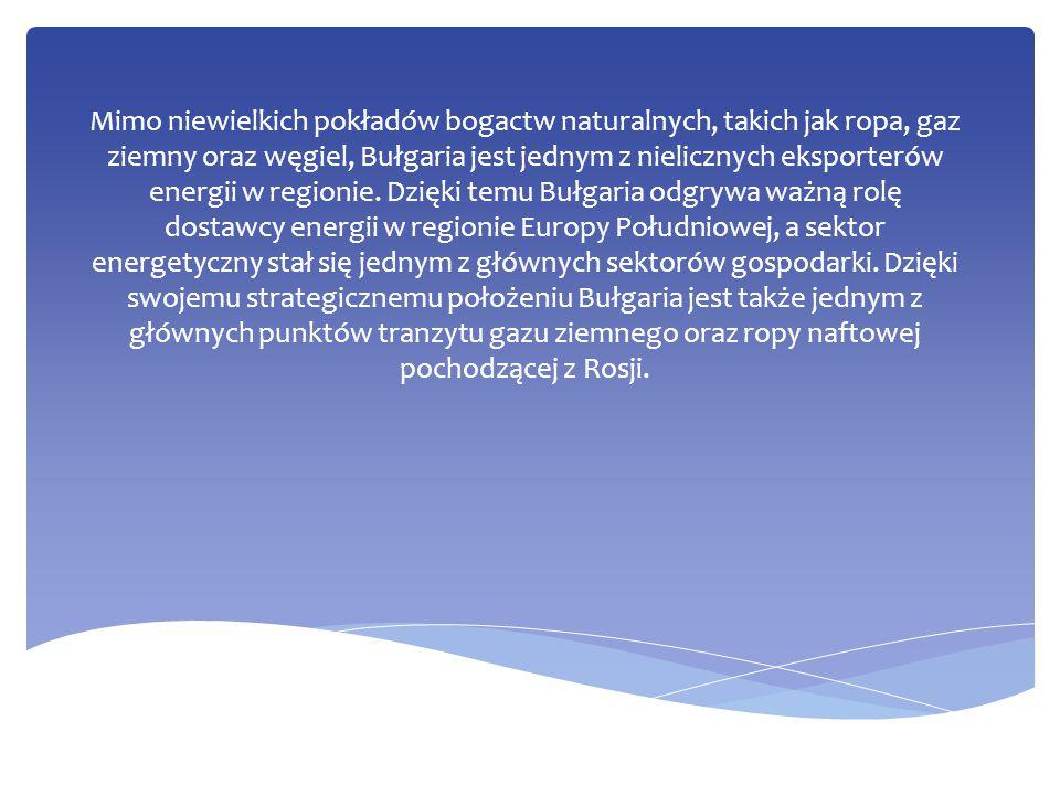 Mimo niewielkich pokładów bogactw naturalnych, takich jak ropa, gaz ziemny oraz węgiel, Bułgaria jest jednym z nielicznych eksporterów energii w regionie.