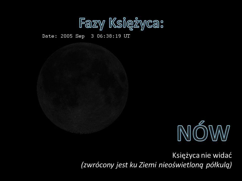 Fazy Księżyca: NÓW Księżyca nie widać (zwrócony jest ku Ziemi nieoświetloną półkulą)
