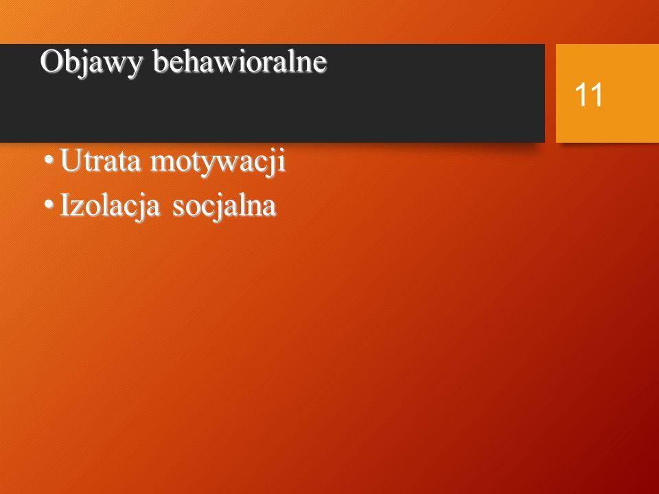 Objawy behawioralne Utrata motywacji Izolacja socjalna