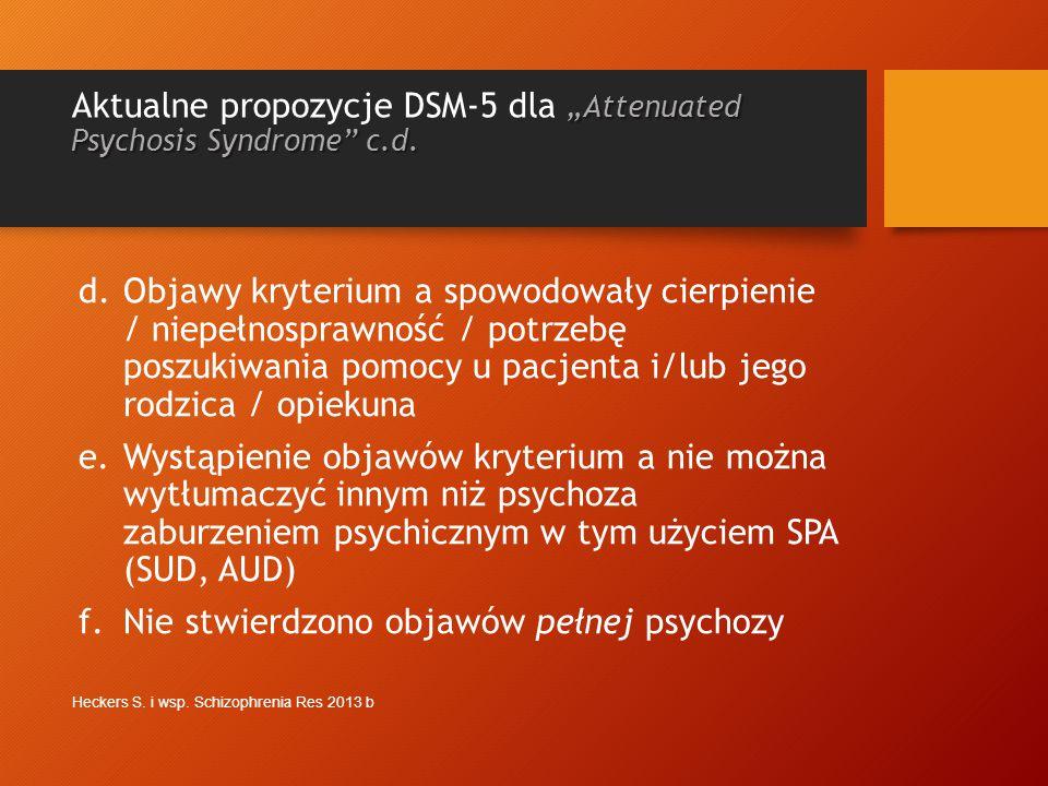 """Aktualne propozycje DSM-5 dla """"Attenuated Psychosis Syndrome c.d."""