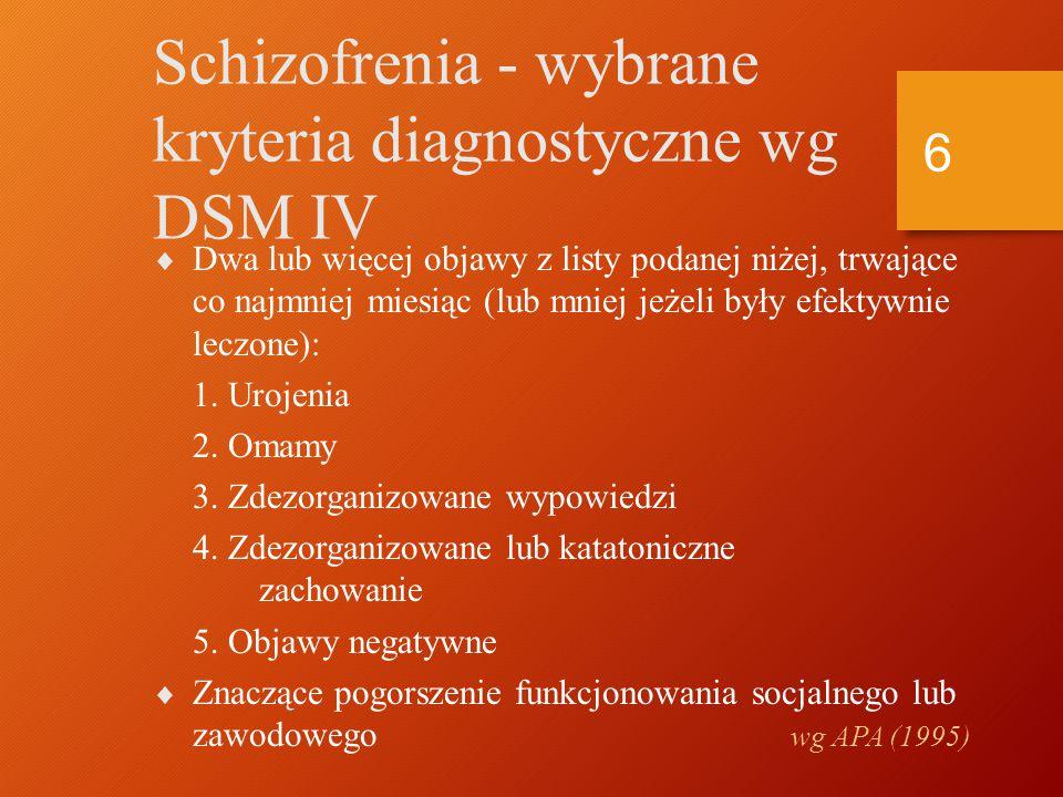Schizofrenia - wybrane kryteria diagnostyczne wg DSM IV