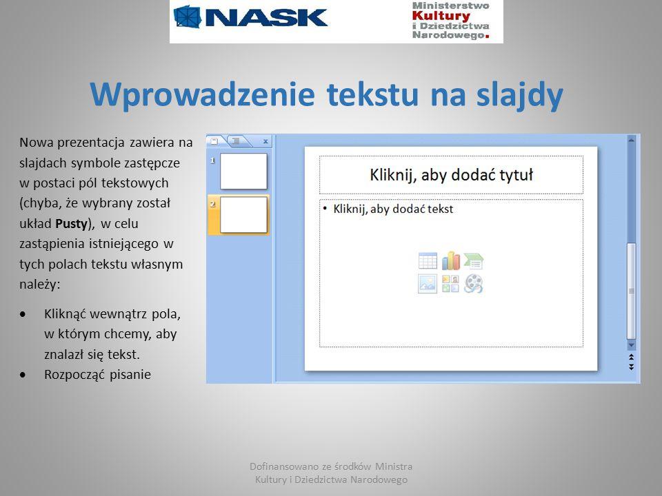 Wprowadzenie tekstu na slajdy