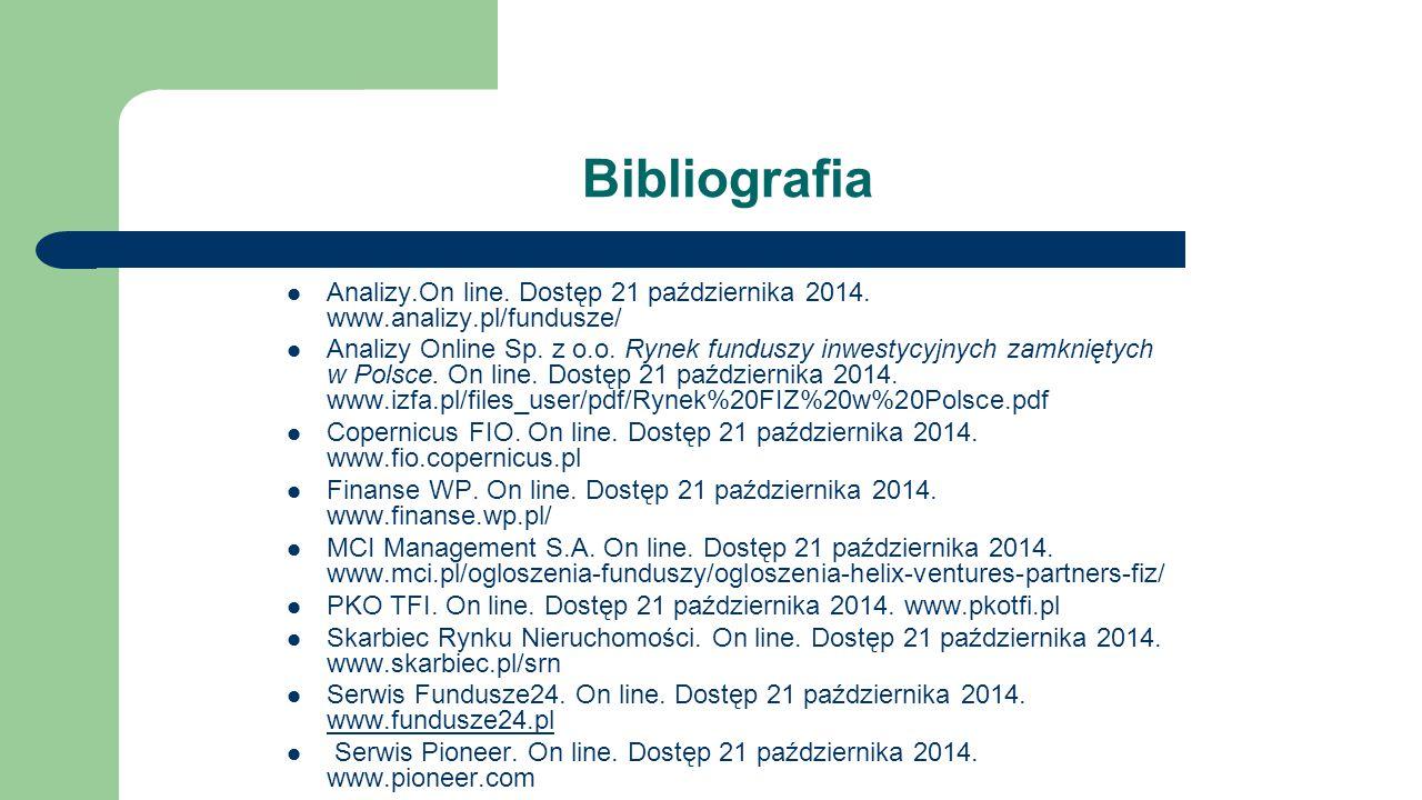 Bibliografia Analizy.On line. Dostęp 21 października 2014. www.analizy.pl/fundusze/