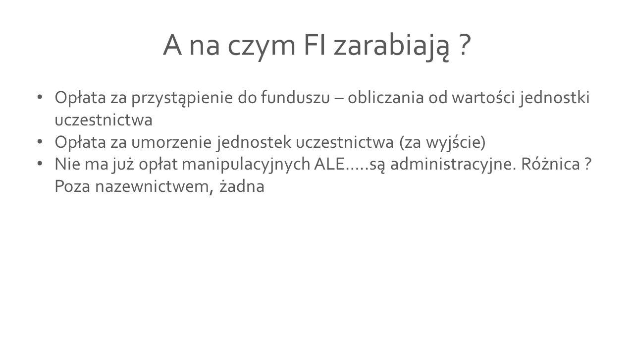 A na czym FI zarabiają Opłata za przystąpienie do funduszu – obliczania od wartości jednostki uczestnictwa.