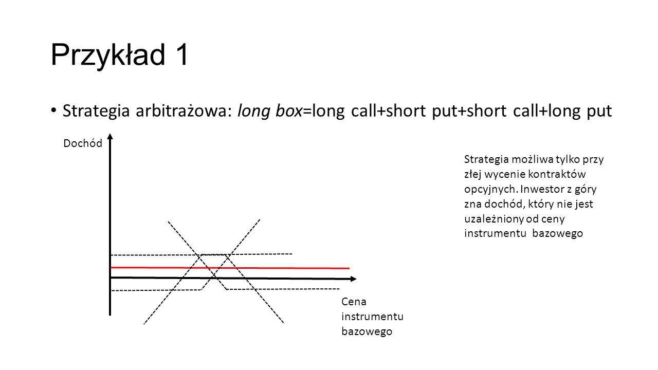 Przykład 1 Strategia arbitrażowa: long box=long call+short put+short call+long put. Dochód.