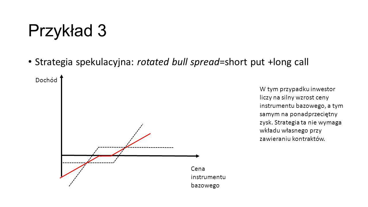 Przykład 3 Strategia spekulacyjna: rotated bull spread=short put +long call. Dochód.