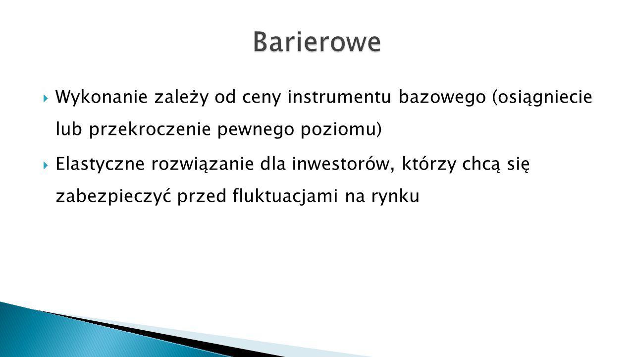 Barierowe Wykonanie zależy od ceny instrumentu bazowego (osiągniecie lub przekroczenie pewnego poziomu)