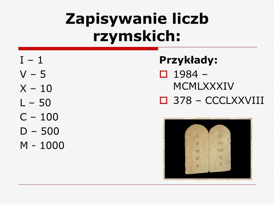 Zapisywanie liczb rzymskich: