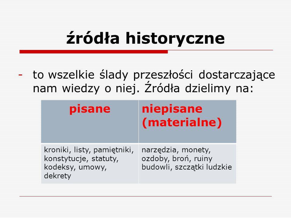 źródła historyczne to wszelkie ślady przeszłości dostarczające nam wiedzy o niej. Źródła dzielimy na: