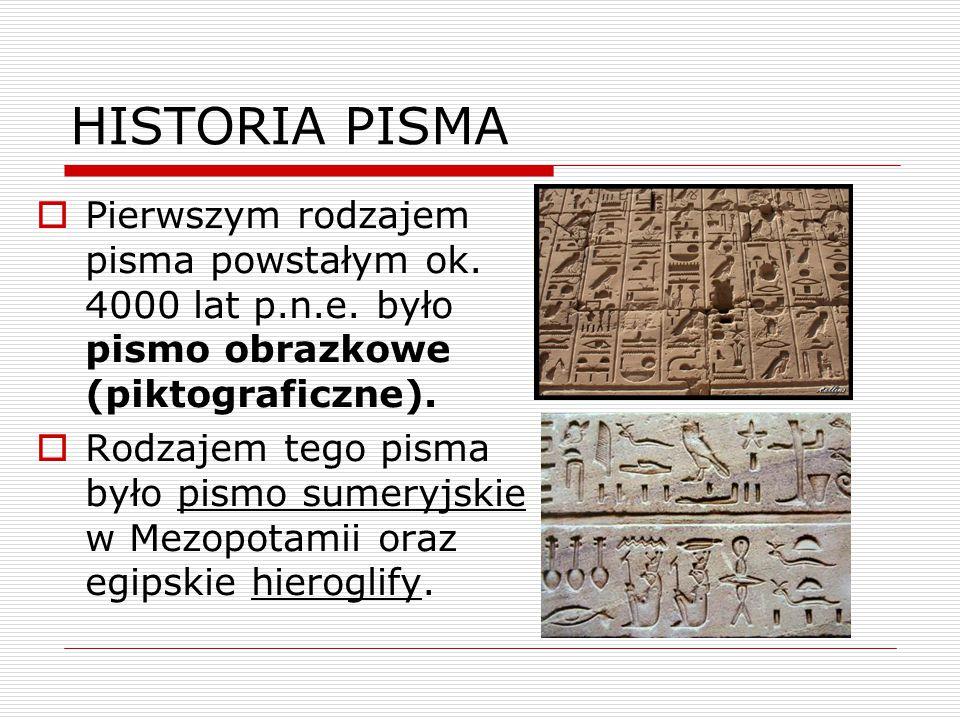 HISTORIA PISMA Pierwszym rodzajem pisma powstałym ok. 4000 lat p.n.e. było pismo obrazkowe (piktograficzne).