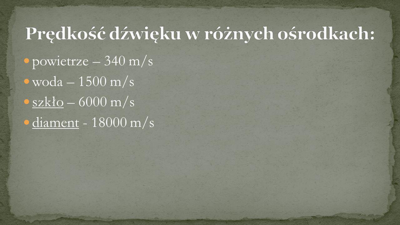 Prędkość dźwięku w różnych ośrodkach: