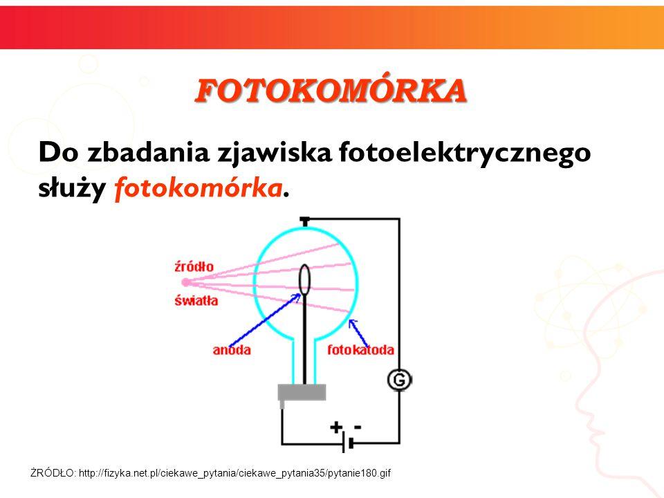 FOTOKOMÓRKA Do zbadania zjawiska fotoelektrycznego służy fotokomórka.