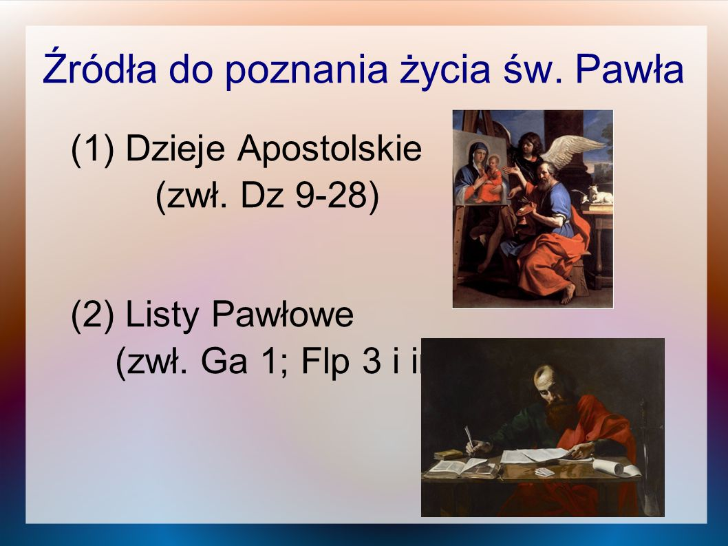 Źródła do poznania życia św. Pawła
