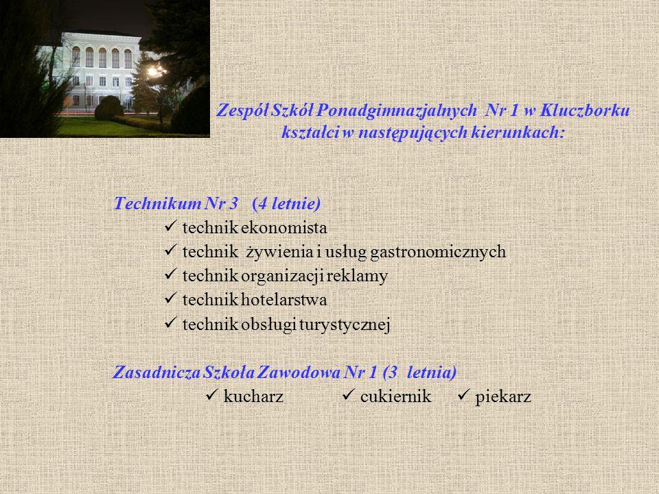 Zespół Szkół Ponadgimnazjalnych Nr 1 w Kluczborku kształci w następujących kierunkach: