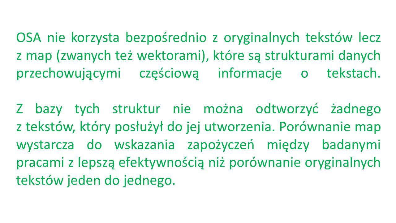 OSA nie korzysta bezpośrednio z oryginalnych tekstów lecz z map (zwanych też wektorami), które są strukturami danych przechowującymi częściową informacje o tekstach.