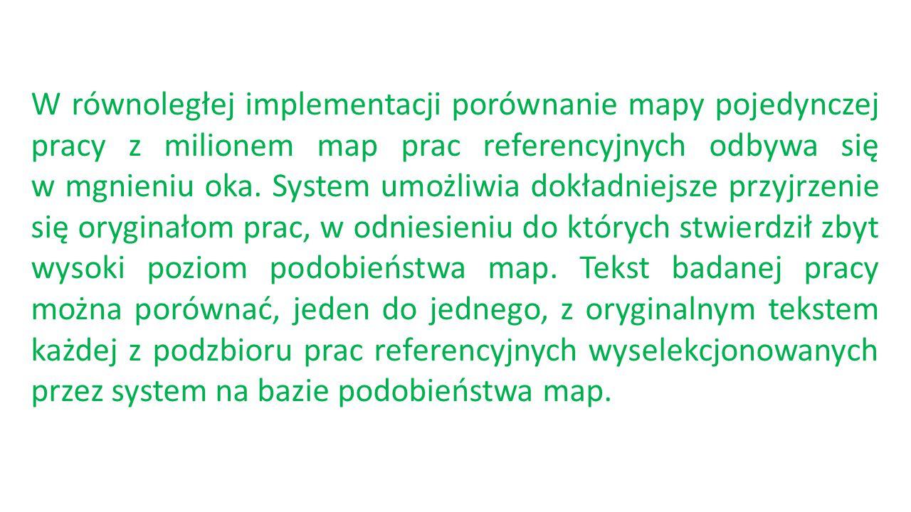 W równoległej implementacji porównanie mapy pojedynczej pracy z milionem map prac referencyjnych odbywa się w mgnieniu oka.