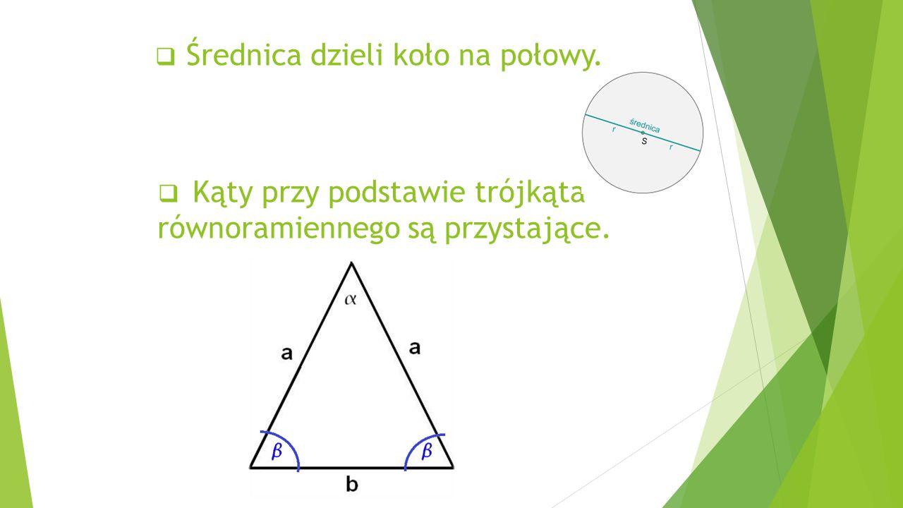 Kąty przy podstawie trójkąta równoramiennego są przystające.
