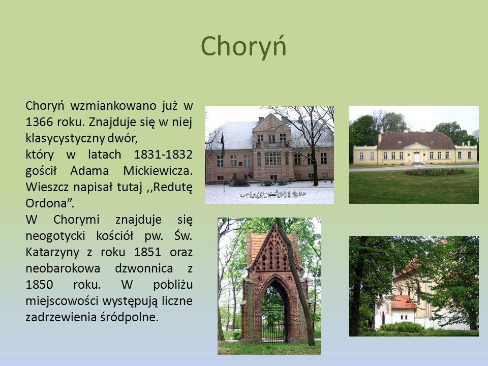 Choryń Choryń wzmiankowano już w 1366 roku. Znajduje się w niej klasycystyczny dwór,
