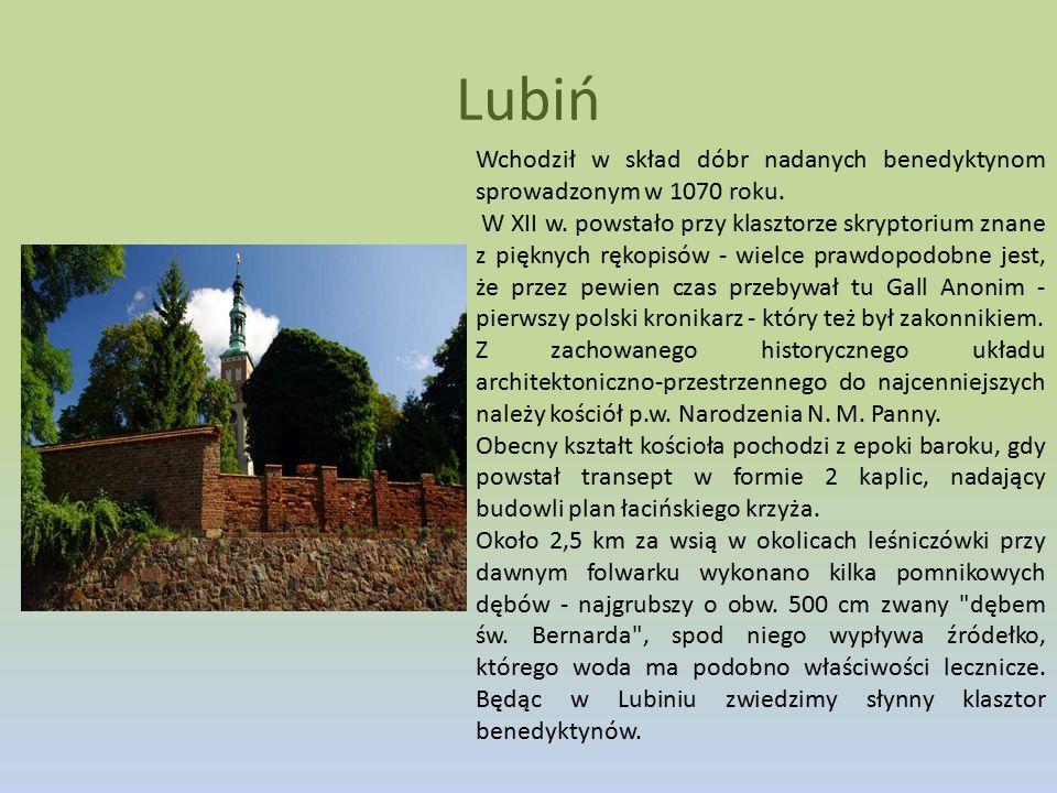 Lubiń Wchodził w skład dóbr nadanych benedyktynom sprowadzonym w 1070 roku.