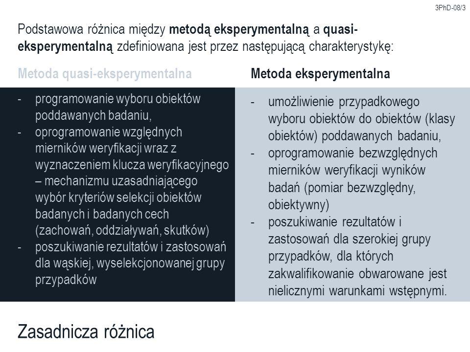 3PhD-08/3 Podstawowa różnica między metodą eksperymentalną a quasi-eksperymentalną zdefiniowana jest przez następującą charakterystykę: